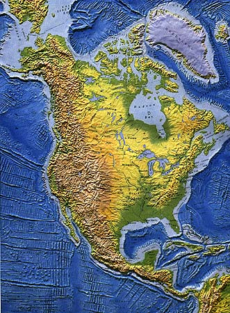 History - North america topographic map