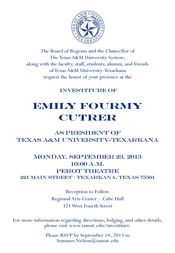 Dr. Cutrer investiture invitation